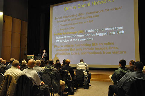 A main focus of Lt. Chuck Cohen's presentation is how criminals use online social networks.