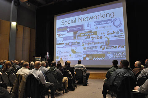 At the start of his presentation, Lt. Chuck Cohen gives law enforcement an idea of just how many social networks clutter cyberspace today.